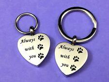 "Keyring Urn .5"" Key Chain Pet Cremation Pendant Ashes Dog Cat Paw Print Heart"