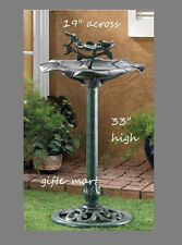 verdigris green flower Plastic Bird Bath Birdbath feeder outdoor Garden Statue L