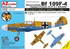 NEW 1:72 AZ Model 7629 Messerschmitt Bf-109F-4 'JG 27 H.J. Marseille'
