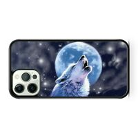 Howling Wolf Animal Full Moon Starry Milky Way Galaxy Space Phone Case Cover