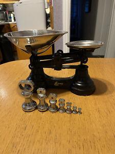 LIBRASCO Black Cast Iron Kitchen Scales 7 Chrome Weights - Vintage
