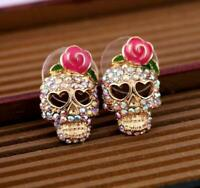 BETSEY JOHNSON RHINESTONE SKULL STUD EARRINGS