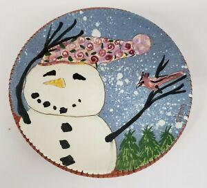 "Selinda KENNEDY ""Storm"" Snowman Bird Redware Collector Plate 7.5"""