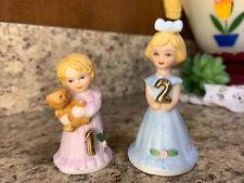 "Enesco Birthday ""Growing Up Girls"" 1 & 2 Year Blond Doll Figurine Hl4"