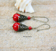 Vintage inspired Filigree Rich Red Shell Pearl earrings bronze tone Handmade New