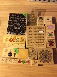 Bundle Of Xmas Wooden Stamps Some Used Some Not