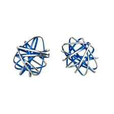 Round Cage Chaos Navy Blue Titanium Stud Earrings