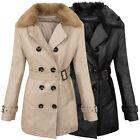 Diseñador Abrigo de invierno mujer chaqueta piel sintética largo d-380 NUEVO