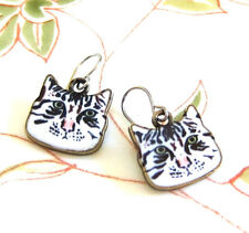 Kitty Cat Black White Tabby Enamel Earrings on Bronze Metal