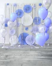 BLUE BALLOON PAPER FAN BIRTHDAY BABY BACKDROP VINYL PHOTO PROP 5X7FT 150X220CM