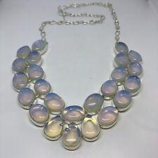 Vintage Blue White Antique Milk Glass Necklace Collar Choker