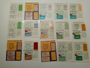 Fifteen 15 CALIFORNIA Fishing Licenses 1966 - 1980 w/ Licenses Stamps