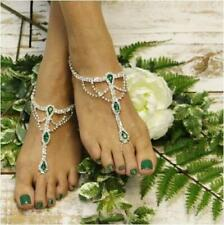 EMERALD  barefoot sandals green, Rhinestone  Wedding Bridal foot jewelry