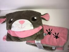 New listing Pillowie Pink Brown Mouse Blanket Set Velour Soft plush