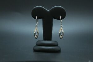 9ct White Gold CZ Leverback Earrings