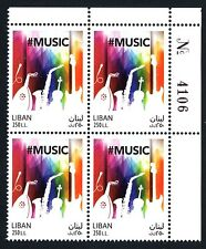 World Music Day stamp MNH blk/4 with control number LibanPost 2017 Lebanon Liban