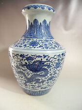 Chinese Big Blue White Dragon Porcelain  Vase Mark