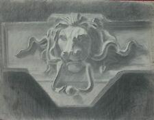 Disegno a Carboncino Raffigurante un Battiporta con la Forma Testa Leone 63x48