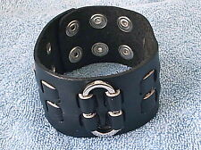 BLACK LEATHER WRISTBAND MENS BOYS STUD BRACELET  LB0190