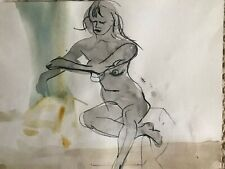 Original grey/black watercolor pencil drawing of a seated female nude
