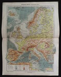 1929 MAP of WESTERN EUROPE Physical by GGK VSNH USSR Soviet Rare