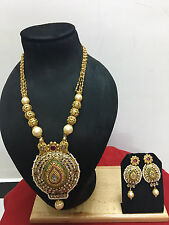 Indian Ethnic Bollywood Gold Plated Bridal Pearl Fashion Jewelry Necklace Set