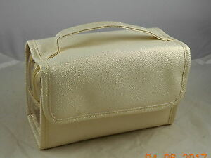 BareMinerals Metallic Gold Faux Leather Top Handle Cosmetic Bag Case Roll