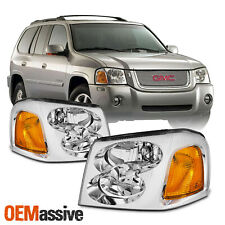 [Oe Style]For 2002-2009 Gmc Envoy Suv Chrome Bezel Headlight Lamp Assembly (Fits: Gmc)