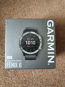 Garmin Fenix 6 Solar Silver with black band Smart watch.