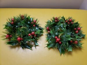 Vintage late 1960s Holly and Berry Candle Rings Wreaths Mid Century