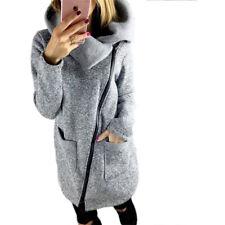 UK Plus Size Womens Autumn Casual Jacket Coat Parka Ladies Long Zipper Outwear
