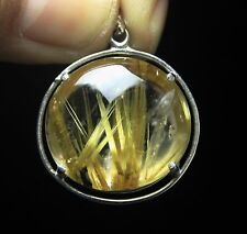11.1g AAA+++ Rare Natural Clear Gold Sun Rutilated Crystal Pendant Healing