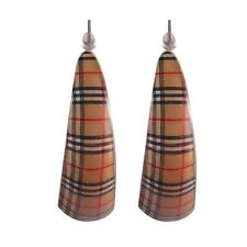 Funky Brown Acrylic Scottish Tartan Hoop Earrings -Joe Cool Checkered Punk