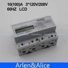10(100)A 3*120V/208V 60HZ three phase KWH Watt hour din-rail energy meter LCD