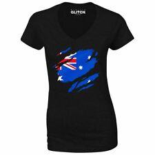 Torn Australian Flag Women's V-Neck Australia World Cup Olympics Supporter Proud
