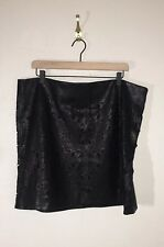 Fovever 21 Womens Plus Size 2X Black Vegan Faux Leather Cut Out Skirt SS