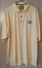 FJ FOOTJOY Men's Size XL Pro Dry Golf Shirt Yellow White Stripes The Falls Logo