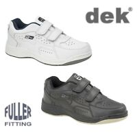 Mens Wide Touch Fastening Leather Trainers Black White - 6 7 8 9 10 11 12 13 14