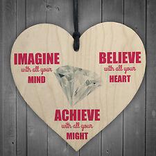 Imagine Believe Achieve Inspirational Wooden Hanging Heart Friendship Gift Sign
