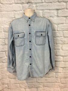 VTG Lucky Brand Mens Sanforized Light Blue Denim Button Front L/S Shirt Sz Small