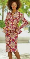 100% Cotton Ruffled Peplum Skirt Set  plus size 22W Ashro Woman's Church Suit