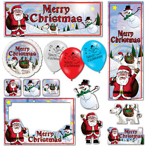 Merry Christmas Santa Claus Bear Banners Decorations Balloons Party Supplies