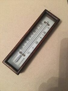 Antique Wooden Barometer Box Part Thermometer Working Silver Liquid