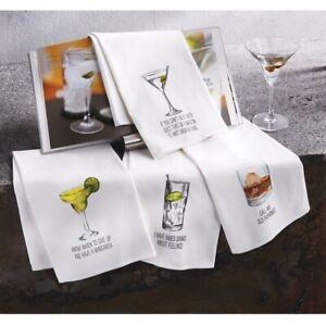 "Mud Pie E1 Home 26"" x 16.5"" Drink Sentiment Hand Towel 41500017 Choose Design"