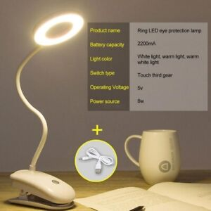 USB Clip On Flexible Desk Lamp Dimmable Memory Bed Read Table Study Light 3 mode