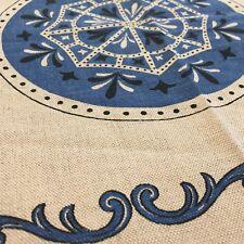 "Scandinavian Tablecloth 52"" X 52"" Square Blue Folk Designs Cotton Linen Blend"