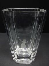 """SKRUF SWEDEN GIRL W/BIRDS ENGRAVED CRYSTAL GLASS VASE 7"""" MINT SIGNED & STICKER"""