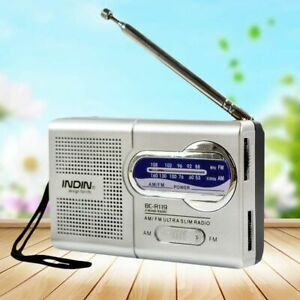 World Receiver Slim Pocket Size Mini Portable AM/FM Radio Telescopic Antenna