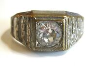 VINTAGE ART DECO MANS MENS BRASS RING WITH A SILVER WASH & PASTE RHINESTONE 8.25