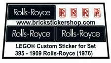 Precut Custom Replacement Stickers for Lego Set 395 - 1909 Rolls-Royce (1976)